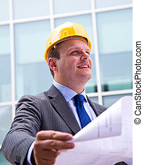 nymodig, arkitekt, tittande på, design, planer