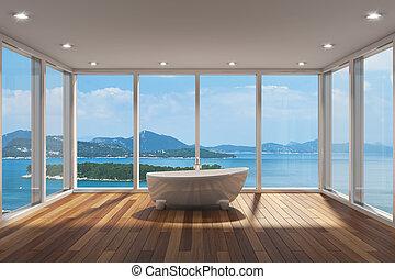 nymodig, badrum, med, stort, skälla fönstret