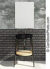 nymodig, badrum, med, tom, affisch