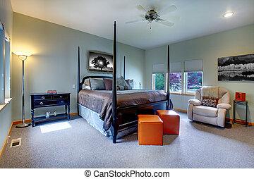 nymodig, bed., stort, lysande, design, sovrum, inre, post