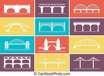nymodig, bro, ikonen, på, färgrik, bakgrund, formen