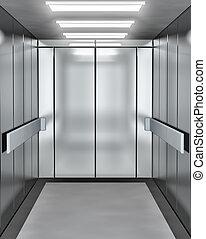 nymodig, dörr, öppnat, hiss