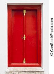 nymodig, dörr, röd