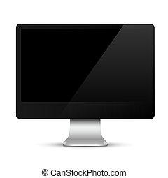 nymodig, dator övervaka, med, svart, avskärma