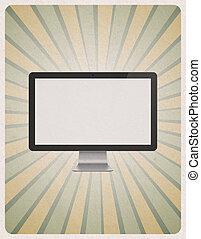 nymodig, dator övervaka, på, retro, bakgrund