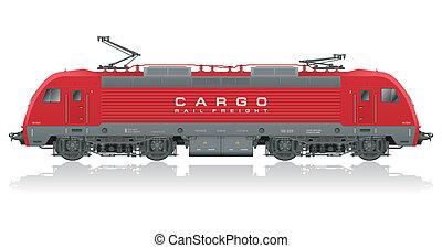 nymodig, elektrisk, röd, lokomotiv