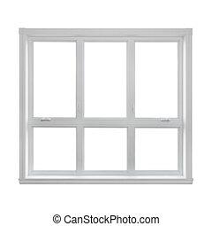 nymodig, fönster, isolerat, vita, bakgrund