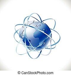 nymodig,  global, isolera,  Illustration, bakgrund, vektor, vit, knyter kontakt
