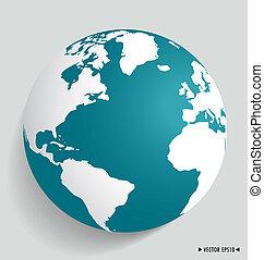 nymodig, globe., vektor, illustration.