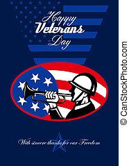 nymodig, hälsning, soldat, amerikan, veteransdag, kort