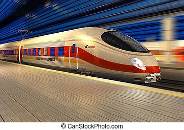 nymodig, hög fart träna, hos, den, järnväg stationen, om...