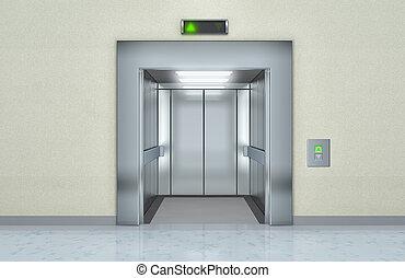 nymodig, hiss, med, öppnat, dörrar