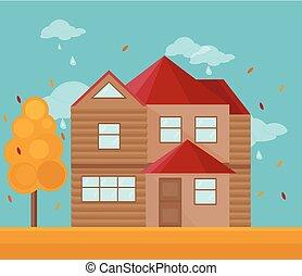 nymodig, house., illustration, höst, vektor, arkitektur, bakgrund, fasad