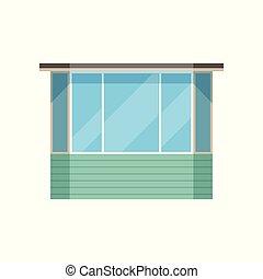 nymodig, illustration, vektor, bakgrund, glansig, vit, balkong