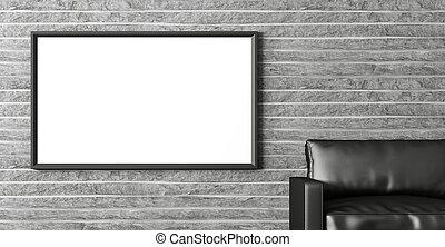 nymodig, inre, med, affisch, och, svart, soffa, 3, framförande