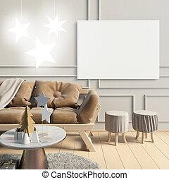 nymodig, inre, med, sofa., affisch, driva med, uppe., 3, illustration.