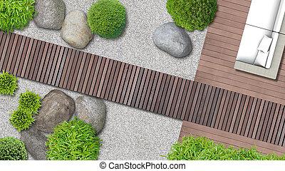 nymodig, japanska trädgård, in, topp se