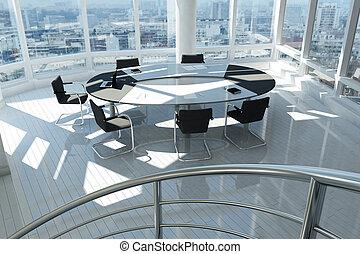 nymodig, kontor, med, många, fönstren, och, spiral, trappa