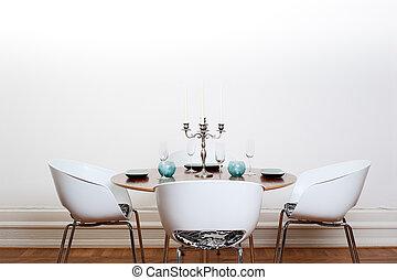 nymodig, matsal, -, kring tabell