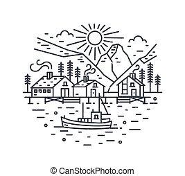 nymodig, monokrom, skepp, style., landskap, resa, kontur, vektor, oavgjord, mountains, linjär, illustration, location., lines., träd, hav, flotta, segla, hus, eller, resa, runda, äventyr