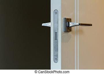 nymodig, rostfritt stål, dörr hantera, vita, trä, dörrar
