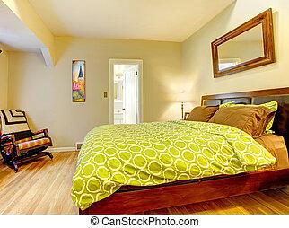 nymodig, säng, lysande, grön, spread., sovrum