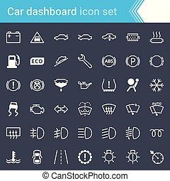 nymodig, stryk, bil, instrumentbräda, indikatorer, och, service, underhåll, ikonen, isolerat, på, mörk, bakgrund.