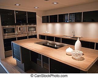 nymodig, toppmodern, design, svart, trä, kök