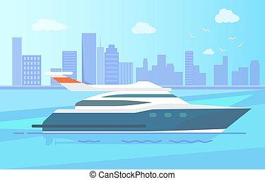 nymodig, yacht, länge, luxuös, kustlinje, stå