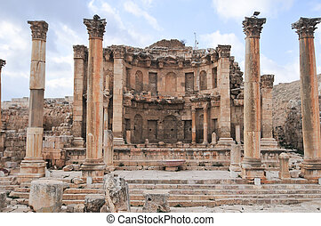 The Nymphaeum in Jerash, Jordan. Jerash is the site of the ruins of the Greco-Roman city of Gerasa.