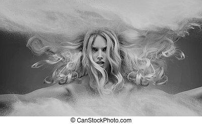 nymphe, black&white, blond, porträt