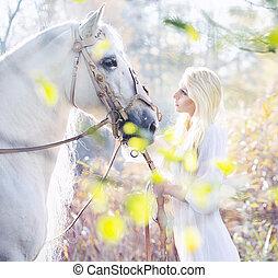 nymphe, pferd, weißes, blond