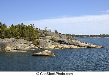 Nynshamn Archipelago with blue sky