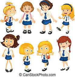 nyolc, diáklány, alatt, -eik, egyenruhába öltöztetni