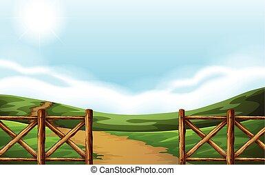 nyom, képben látható, a, mező