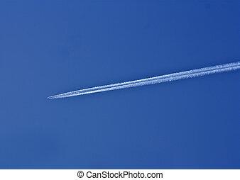 nyom, közül, fehér, dohányzik, alapján, a, repülőgép, képben látható, kék ég