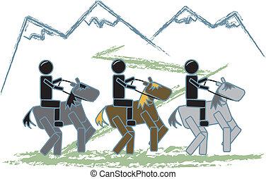 nyom, számolás, bot, lovaglás