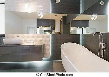 nyomasztó, modern, tervezés, fürdőszoba