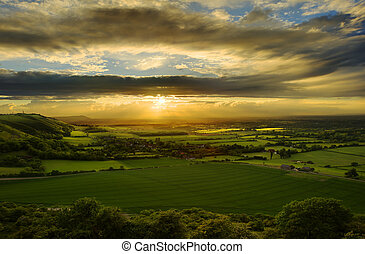 nyomasztó, napnyugta, felett, vidéki táj, táj
