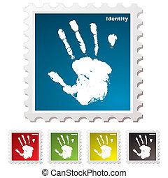 nyomtat, bélyeg, személyazonosság, kéz