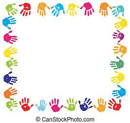 nyomtat, emberi, festék, keret, kéz