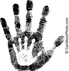 nyomtat, gyermek, felnőtt, kéz