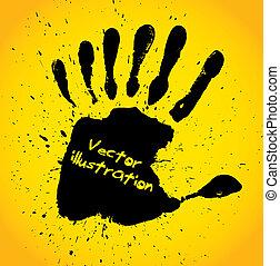 nyomtat, hét, ujjak, kéz