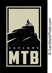 nyomtat, illustration., vektor, háttér., póló, tervezés, mtb, explore., bicikli, sötét, transzparens, hegy