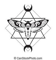 nyomtat, szent, héja, illustration., mértan, vektor, vagy, tervezés, halálok, mozzanat, moth, kéz, egyenes, húzott, hold, tetovál, művészet, fej
