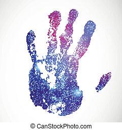 nyomtat, vektor, háttér, kéz