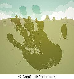 nyomtat, vektor, táj, kéz