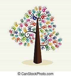 nyomtatványok, fa, színes, szolidaritás, kéz