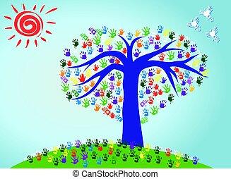 nyomtatványok, színes, elvont, fa, kéz, vektor, illustraion