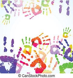 nyomtatványok, színes, háttér, kéz